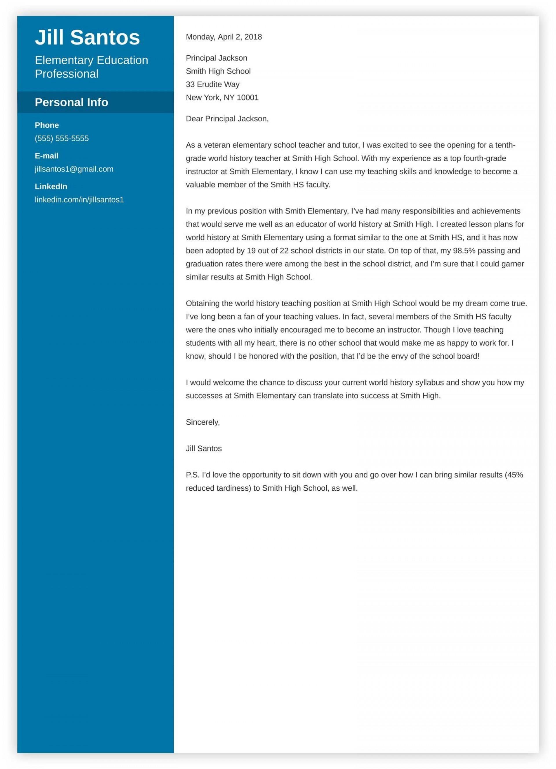 009 Wondrou Teacher Cover Letter Template Idea  Teaching Job1920