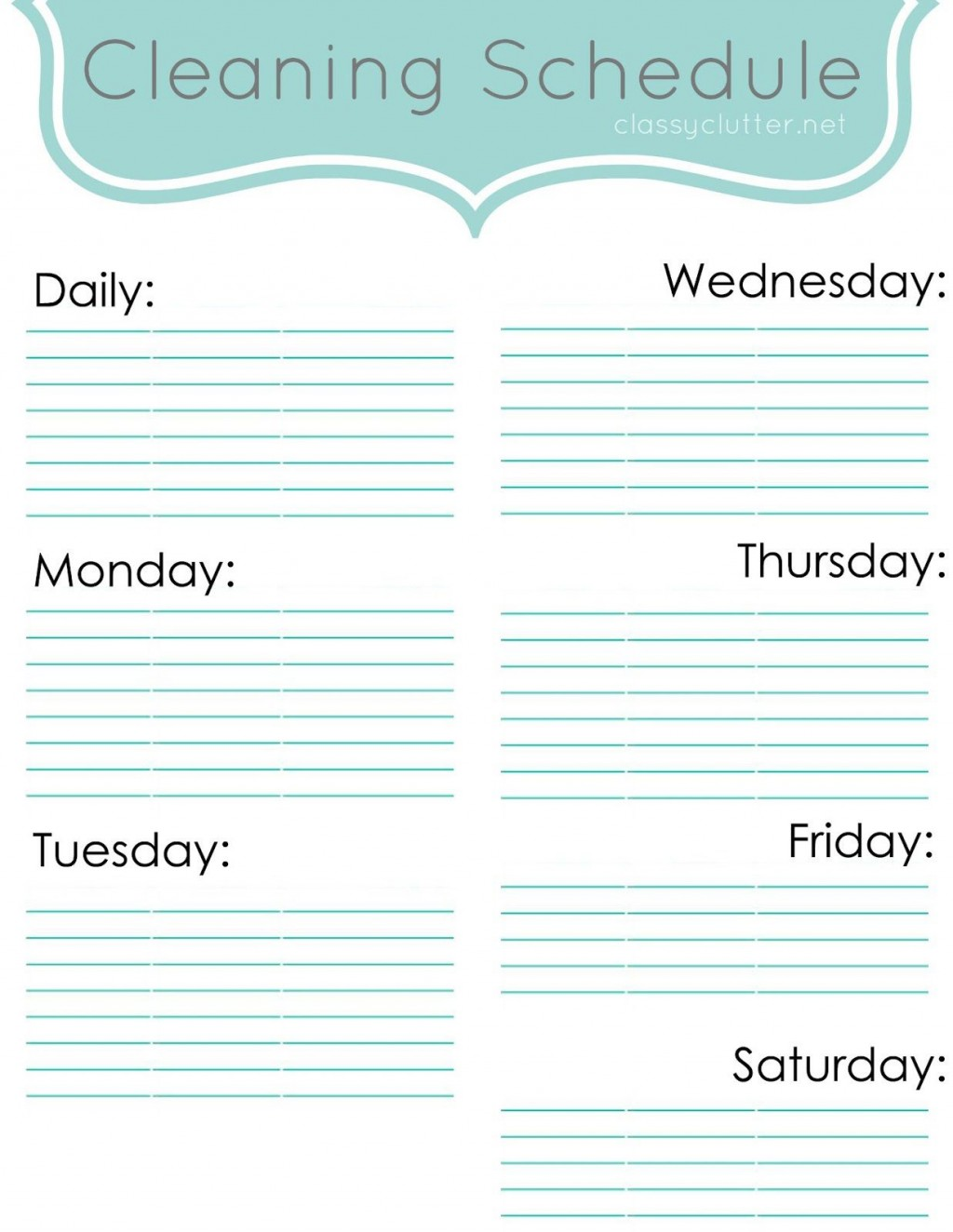 009 Wondrou Weekly Cleaning Schedule Form High Definition  Template Restaurant ExcelLarge