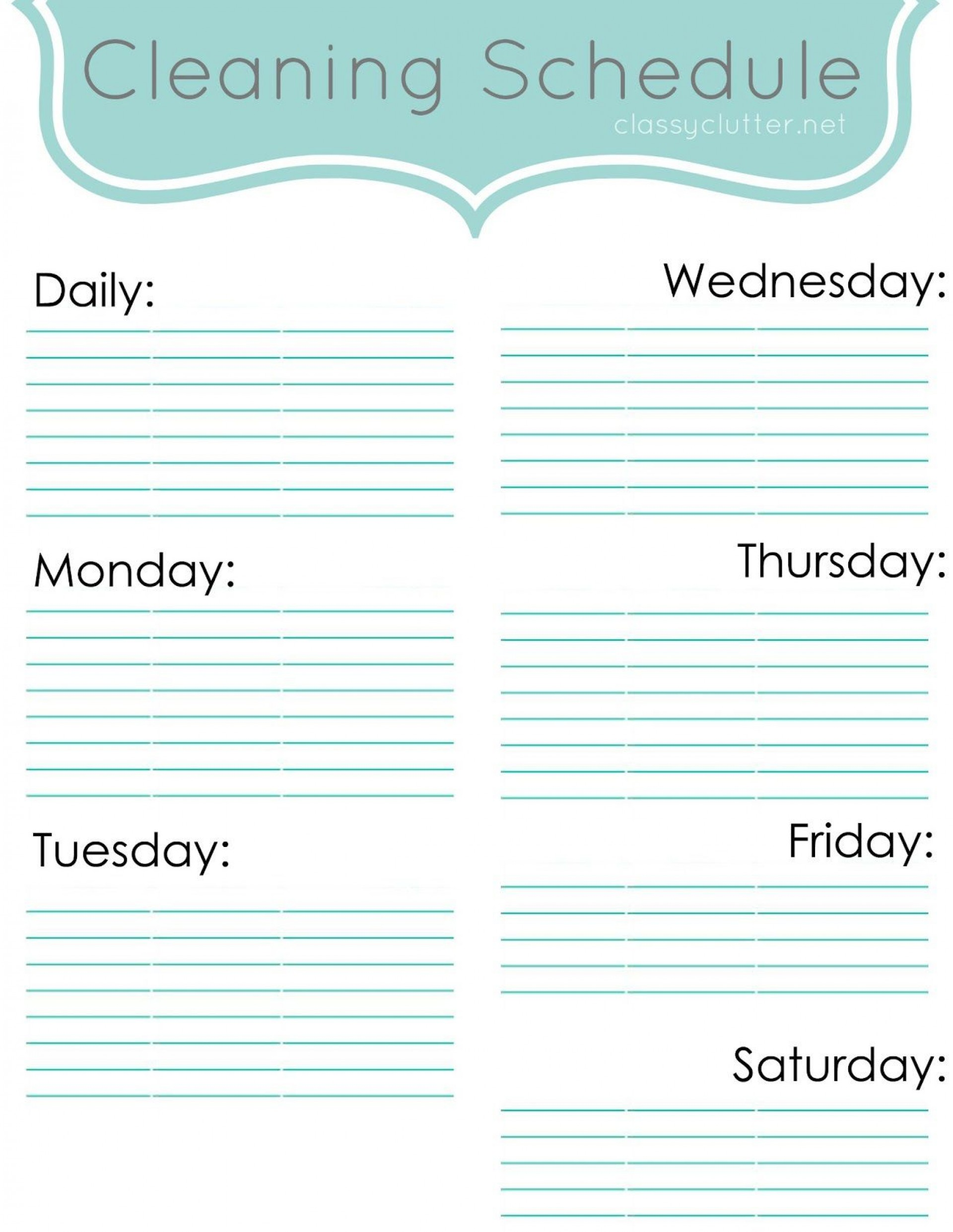 009 Wondrou Weekly Cleaning Schedule Form High Definition  Template Restaurant Excel1920