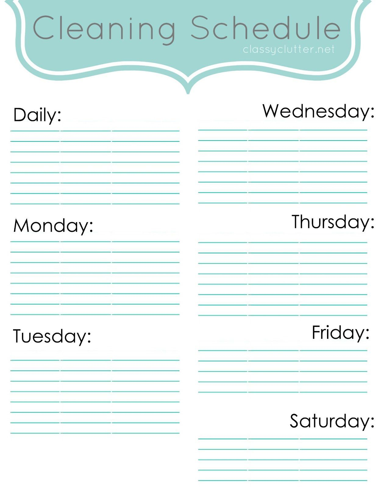 009 Wondrou Weekly Cleaning Schedule Form High Definition  Template Restaurant ExcelFull
