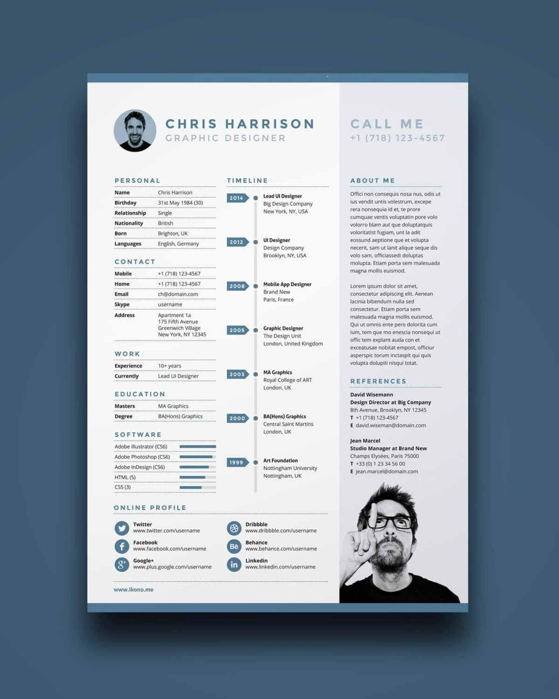 010 Amazing Free One Page Resume Template Design  Word Download 2018 Best1920