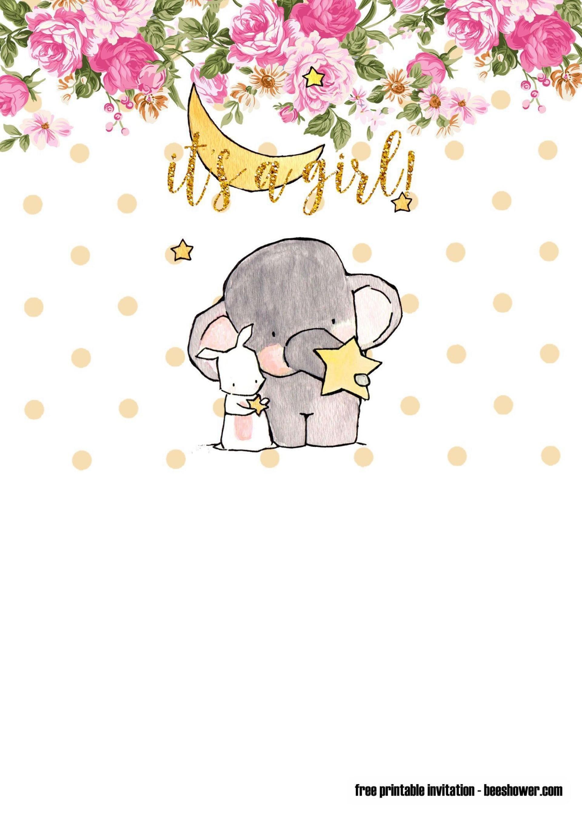 010 Amazing Free Printable Elephant Baby Shower Invitation Template Image  Templates Editable1920