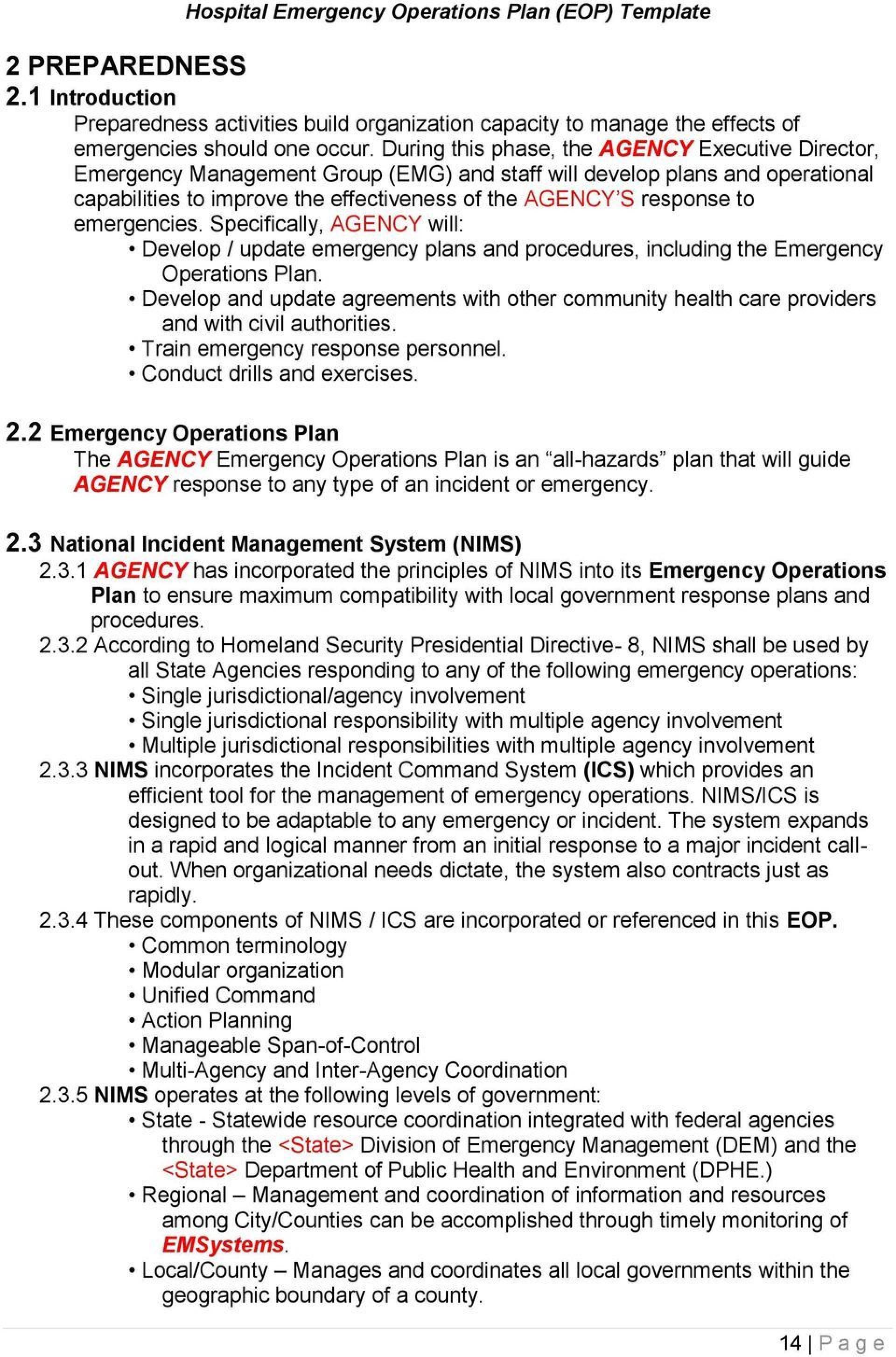 010 Archaicawful Emergency Operation Plan Template High Definition  For Churche Fema Basic1920