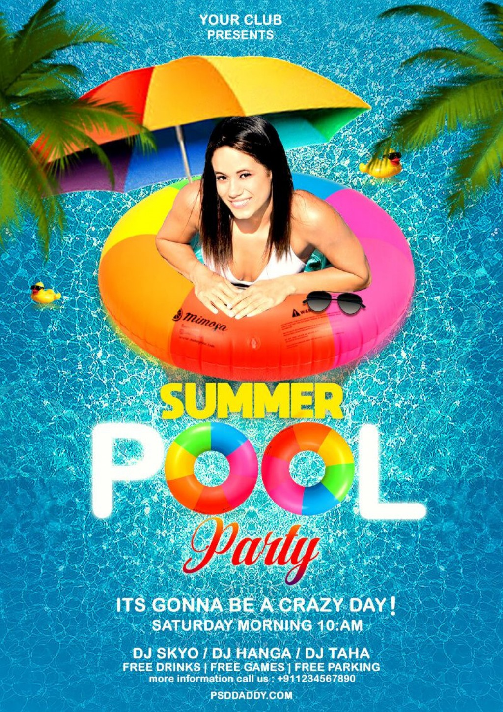 010 Awful Pool Party Flyer Template Free Concept  Photoshop PsdLarge