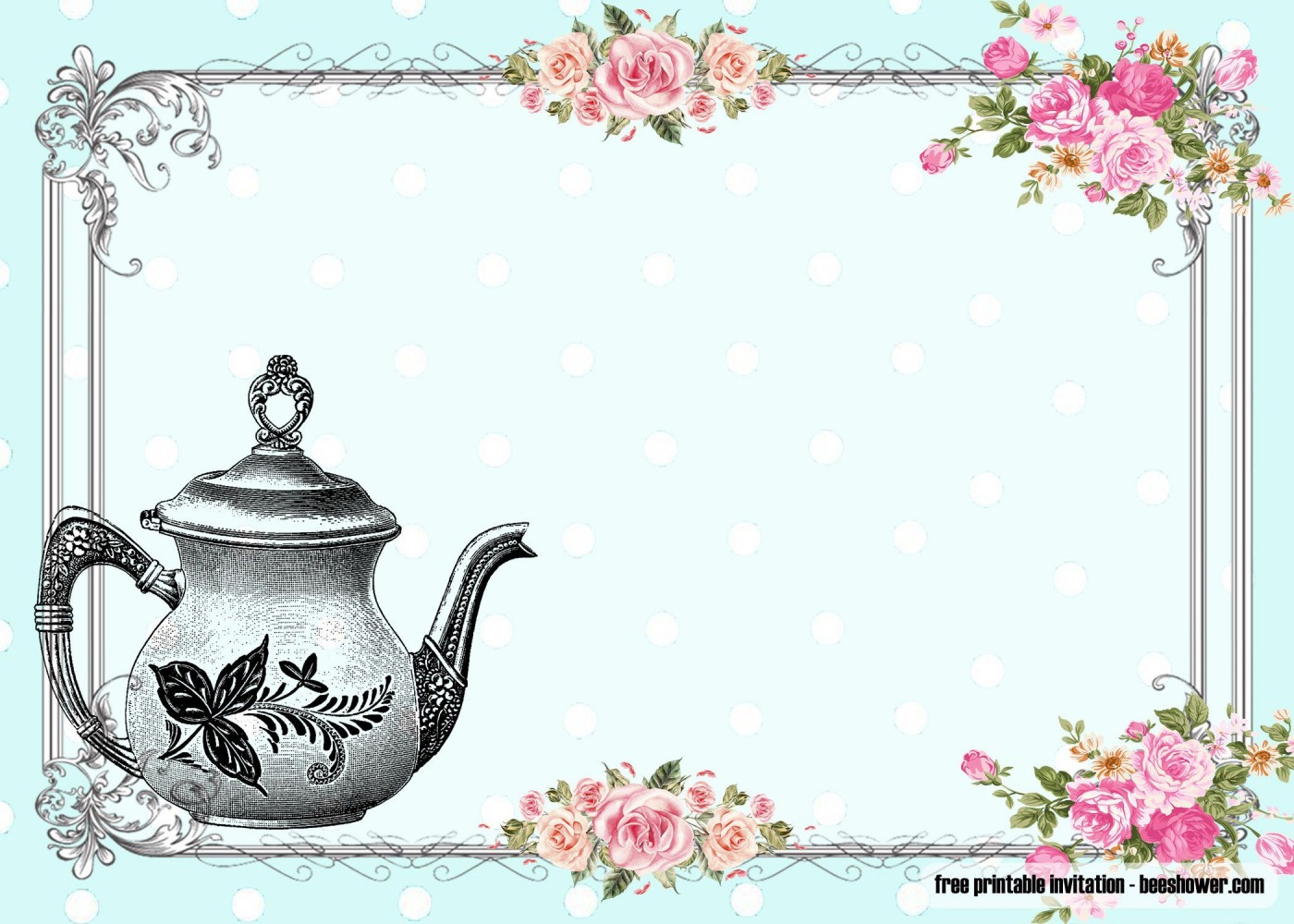 010 Awful Tea Party Invitation Template Idea  Vintage Free Editable Card Pdf1400