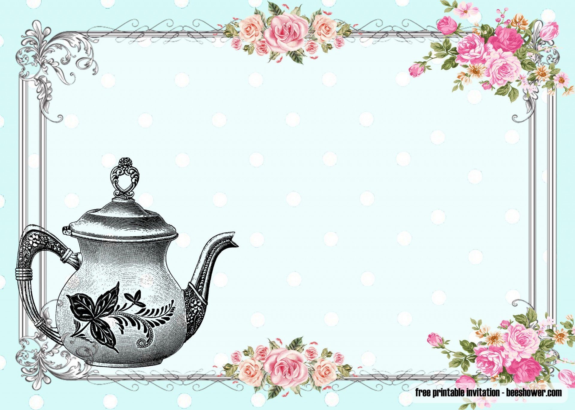 010 Awful Tea Party Invitation Template Idea  Vintage Free Editable Card Pdf1920