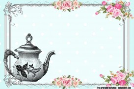 010 Awful Tea Party Invitation Template Idea  Vintage Free Editable Card Pdf