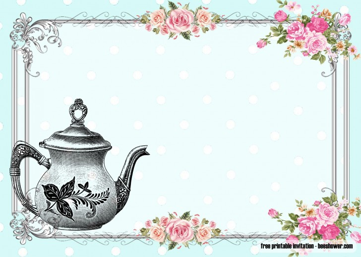 010 Awful Tea Party Invitation Template Idea  Vintage Free Editable Card Pdf728