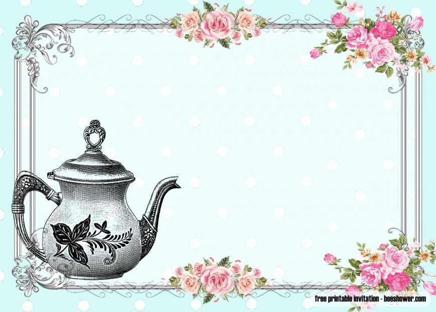 010 Awful Tea Party Invitation Template Idea  Vintage Free Editable Card Pdf868
