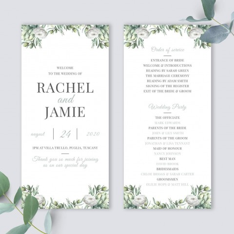 010 Awful Wedding Order Of Service Template Free Picture  Front Cover Download Church480