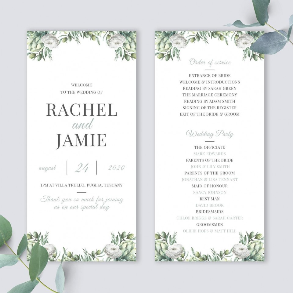 010 Awful Wedding Order Of Service Template Free Picture  Front Cover Download Church960