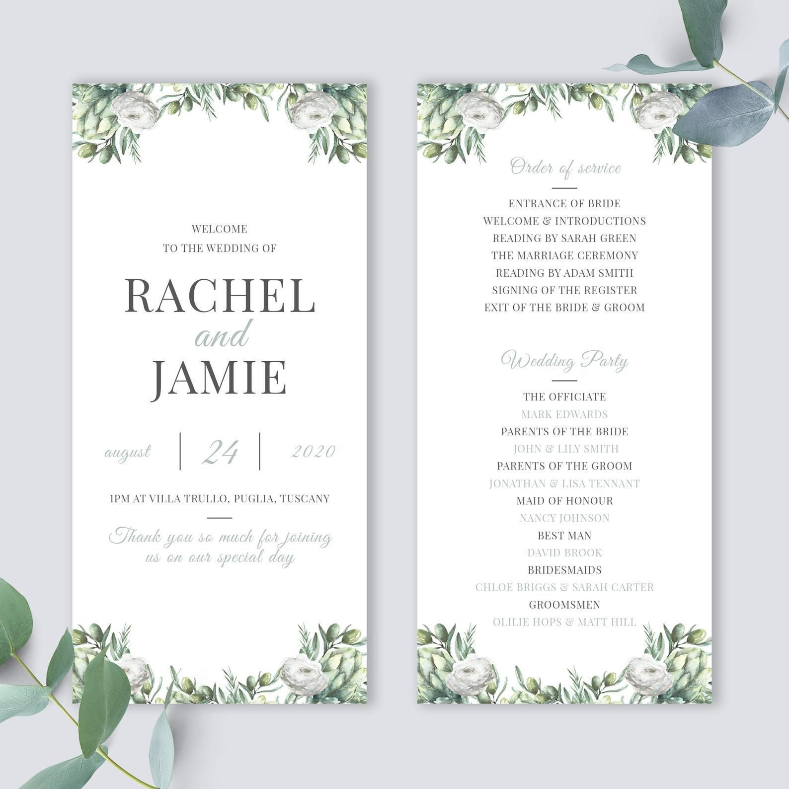010 Awful Wedding Order Of Service Template Free Picture  Front Cover Download ChurchFull