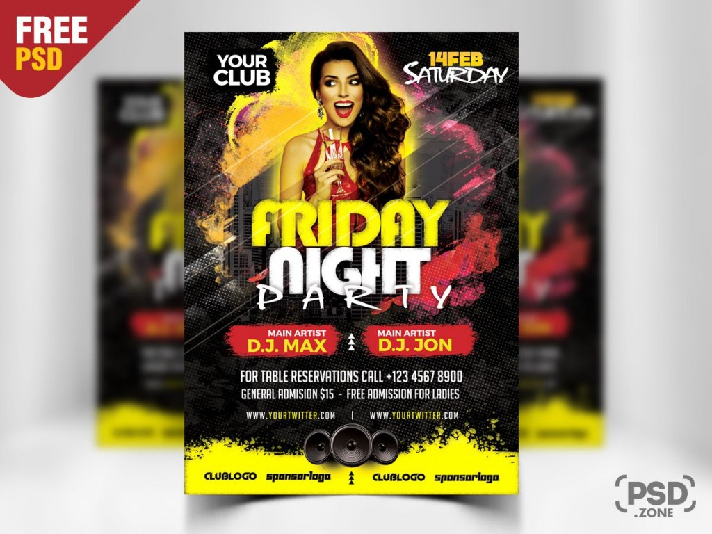 010 Beautiful Free Party Flyer Psd Template Download Inspiration  - Neon GlowLarge