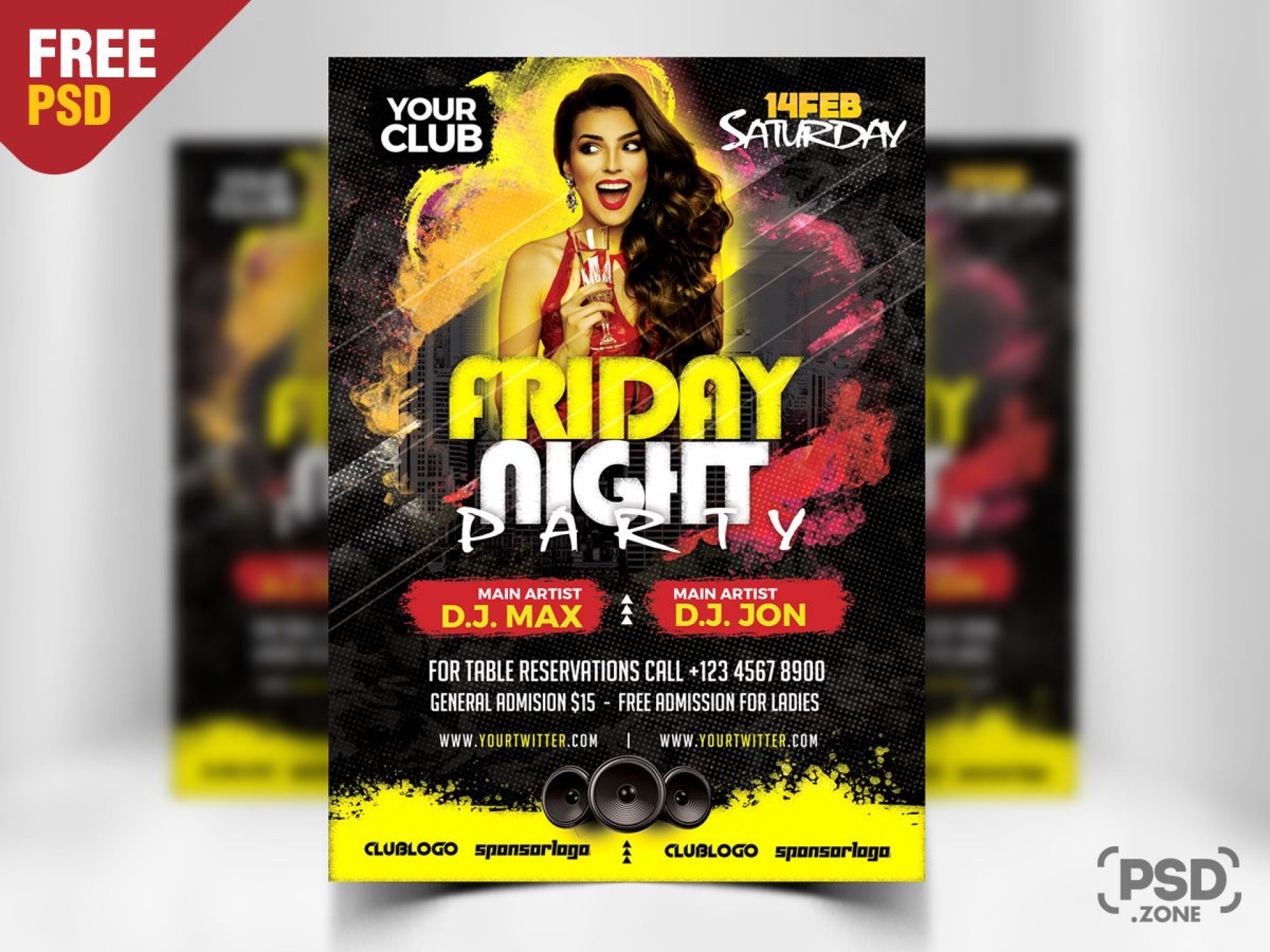 010 Beautiful Free Party Flyer Psd Template Download Inspiration  - Neon Glow1920