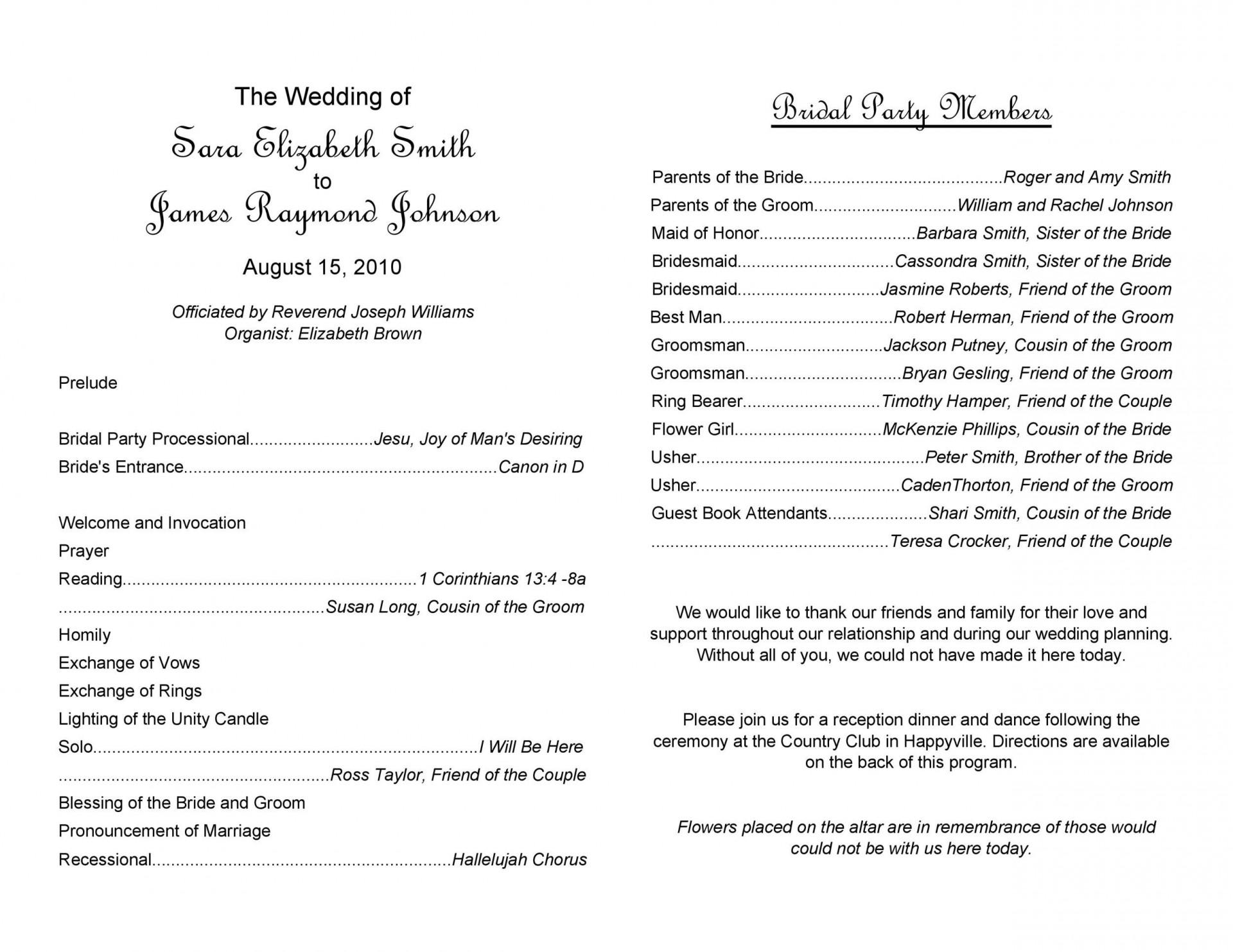 010 Beautiful Wedding Program Template Word Example  Catholic Mas Sample Wording Idea Simple1920