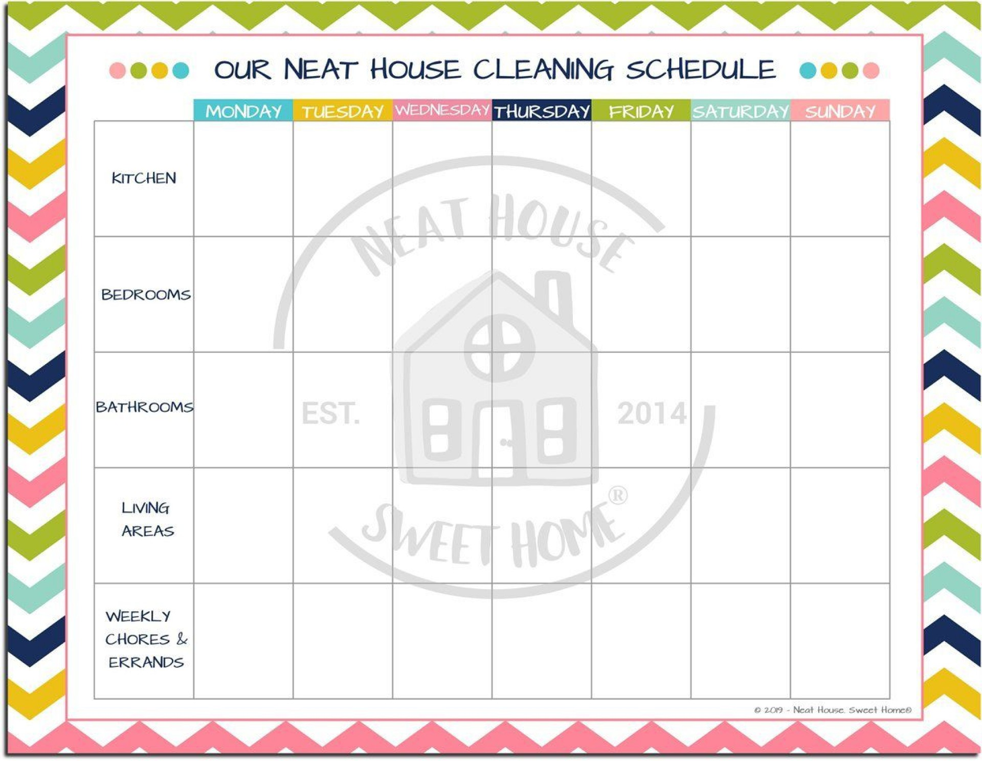 010 Beautiful Weekly Cleaning Schedule Format High Def  Template Free Sample1920
