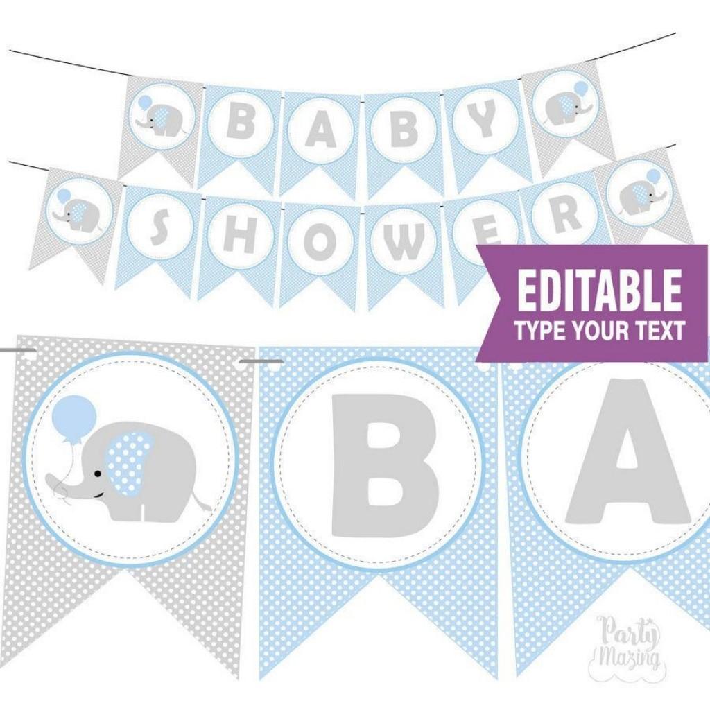 010 Best Free Baby Shower Printable Elephant Highest Quality  DecorationLarge