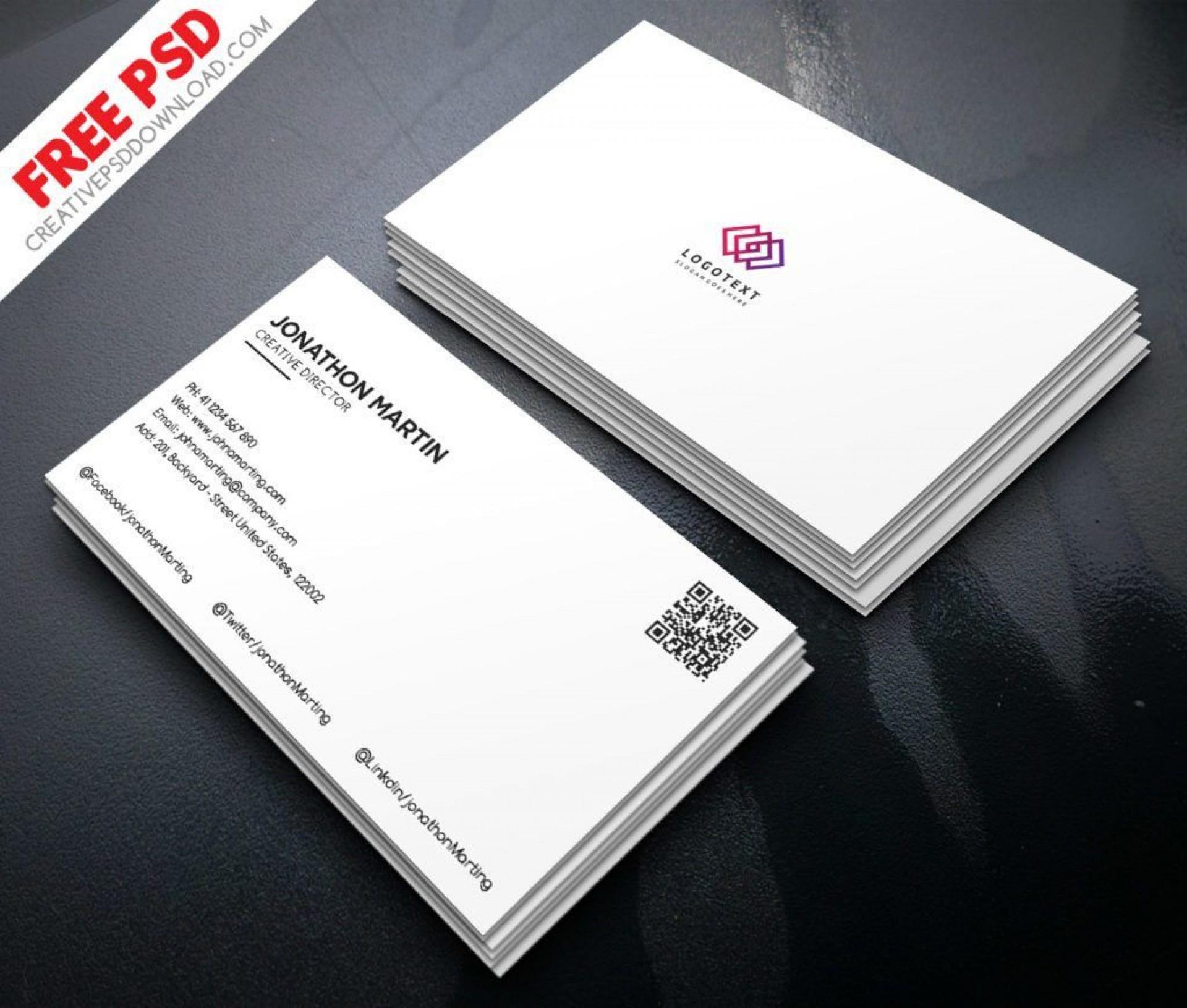 010 Best Minimalist Busines Card Template Psd Free High Resolution 1920