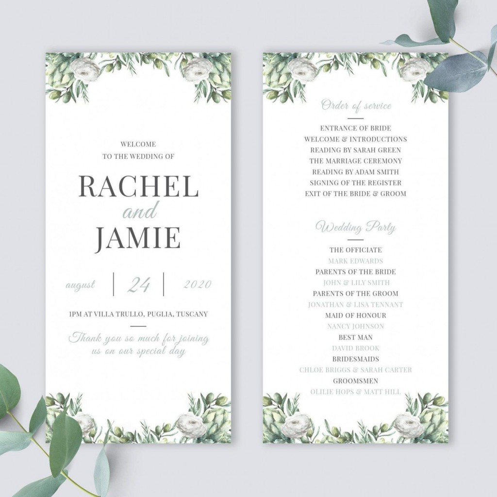 010 Best Wedding Order Of Service Template Word Highest Quality  Free MicrosoftLarge