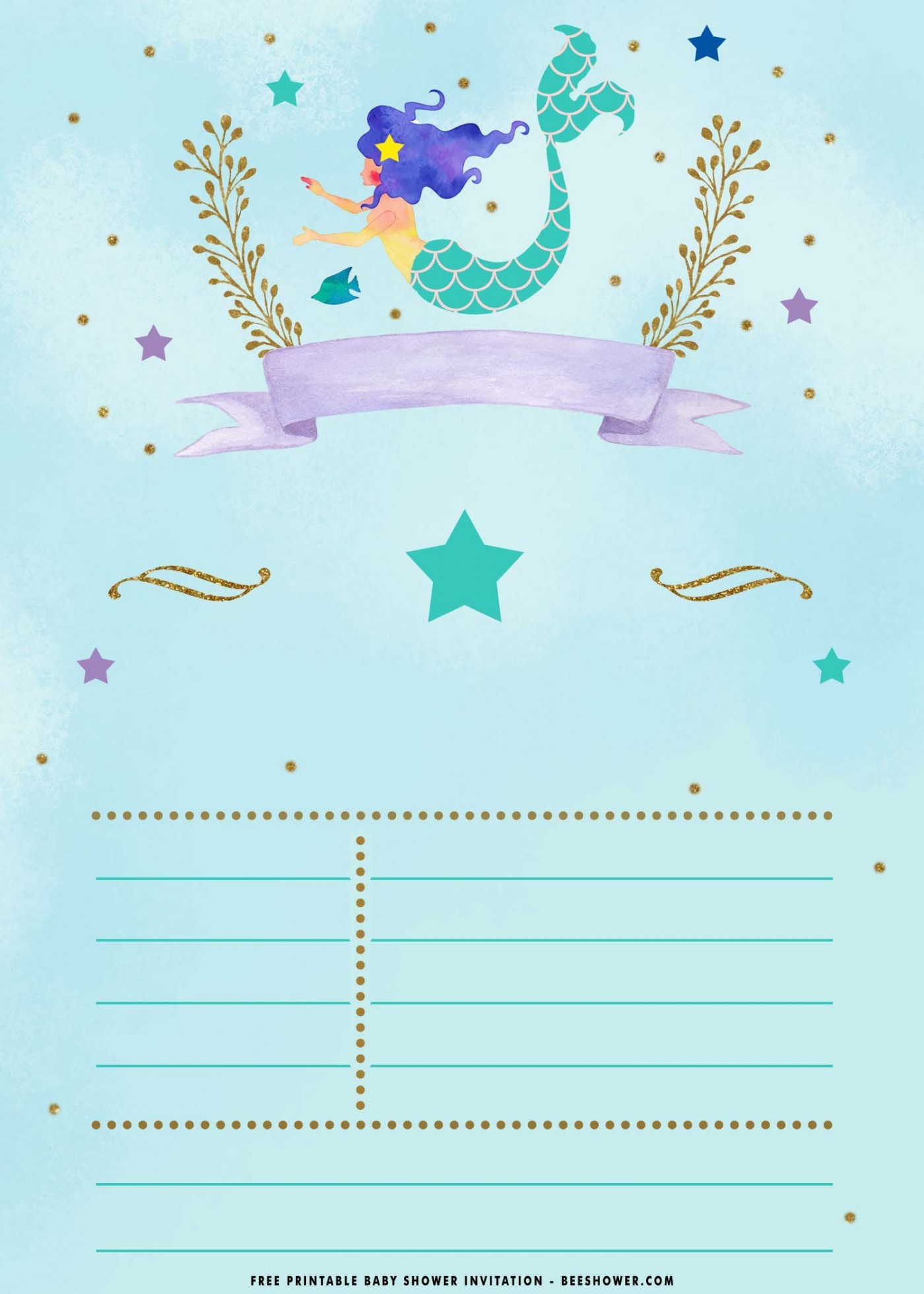 010 Breathtaking Free Mermaid Invitation Template Design  Download Printable Little Birthday Baby Shower1400