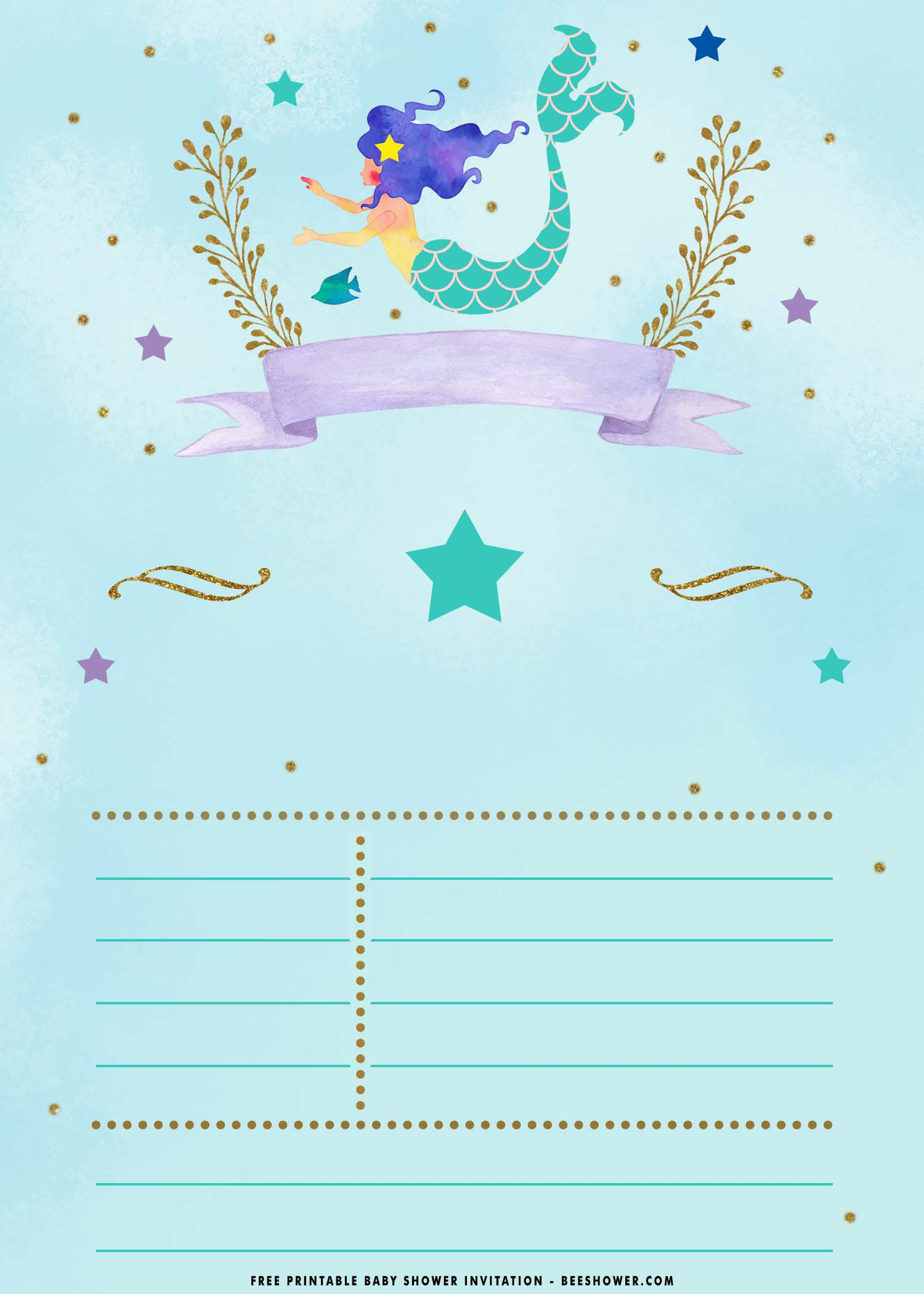 010 Breathtaking Free Mermaid Invitation Template Design  Download Printable Little Birthday Baby ShowerFull