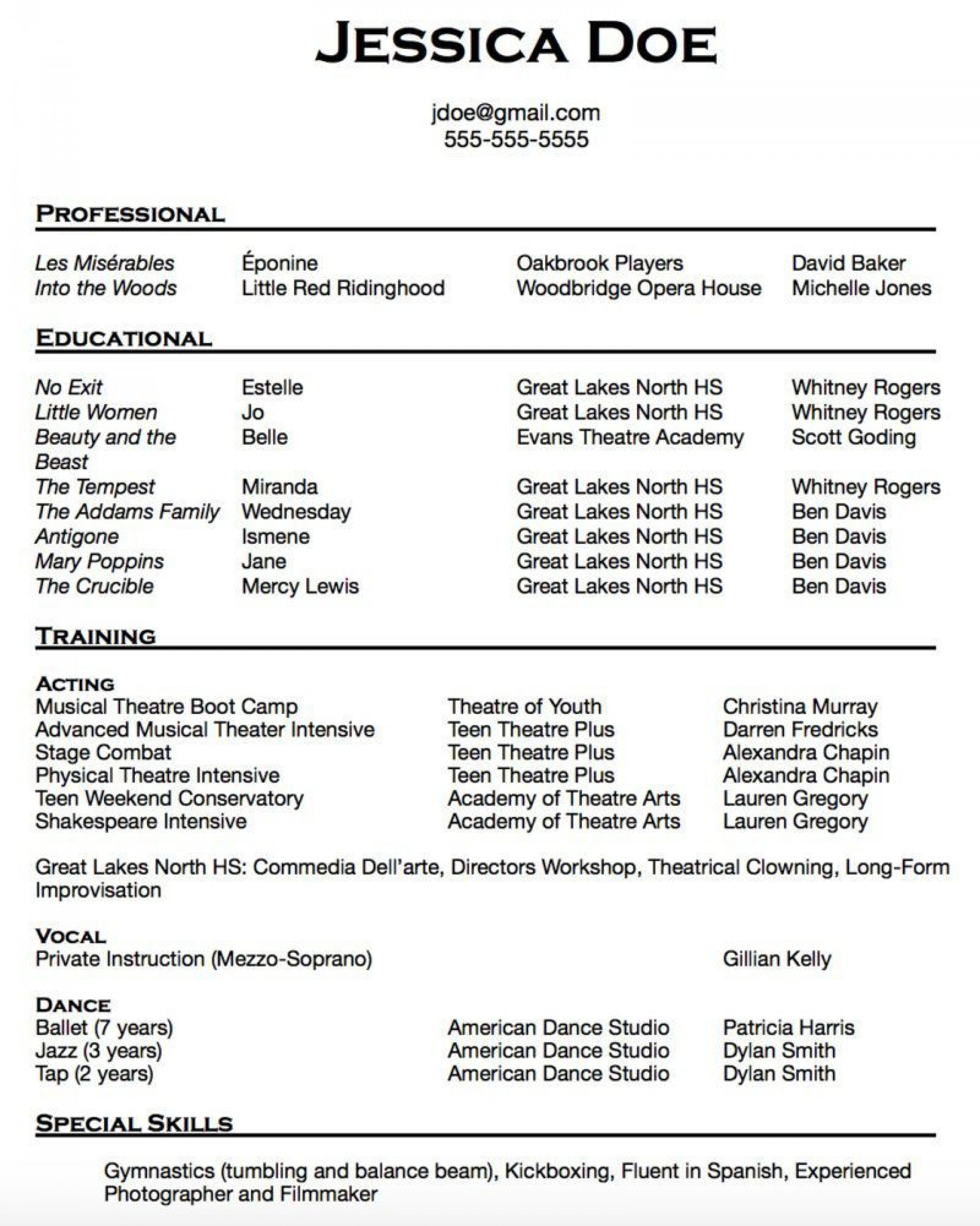 010 Breathtaking Musical Theater Resume Template Word Picture  Theatre1920