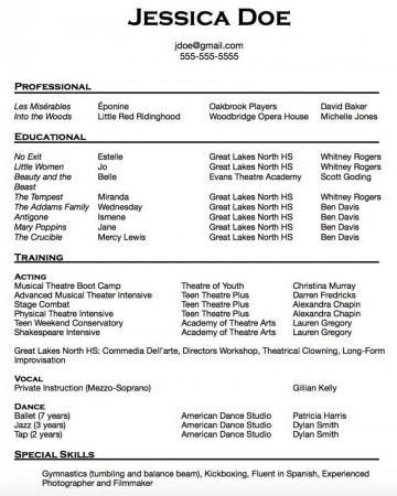 010 Breathtaking Musical Theater Resume Template Word Picture  Theatre360