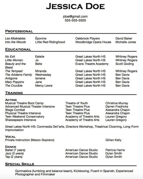 010 Breathtaking Musical Theater Resume Template Word Picture  Theatre480