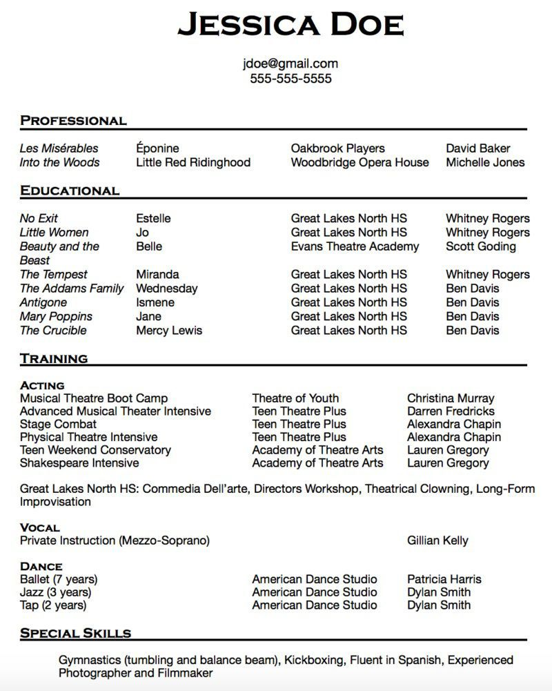 010 Breathtaking Musical Theater Resume Template Word Picture  TheatreFull