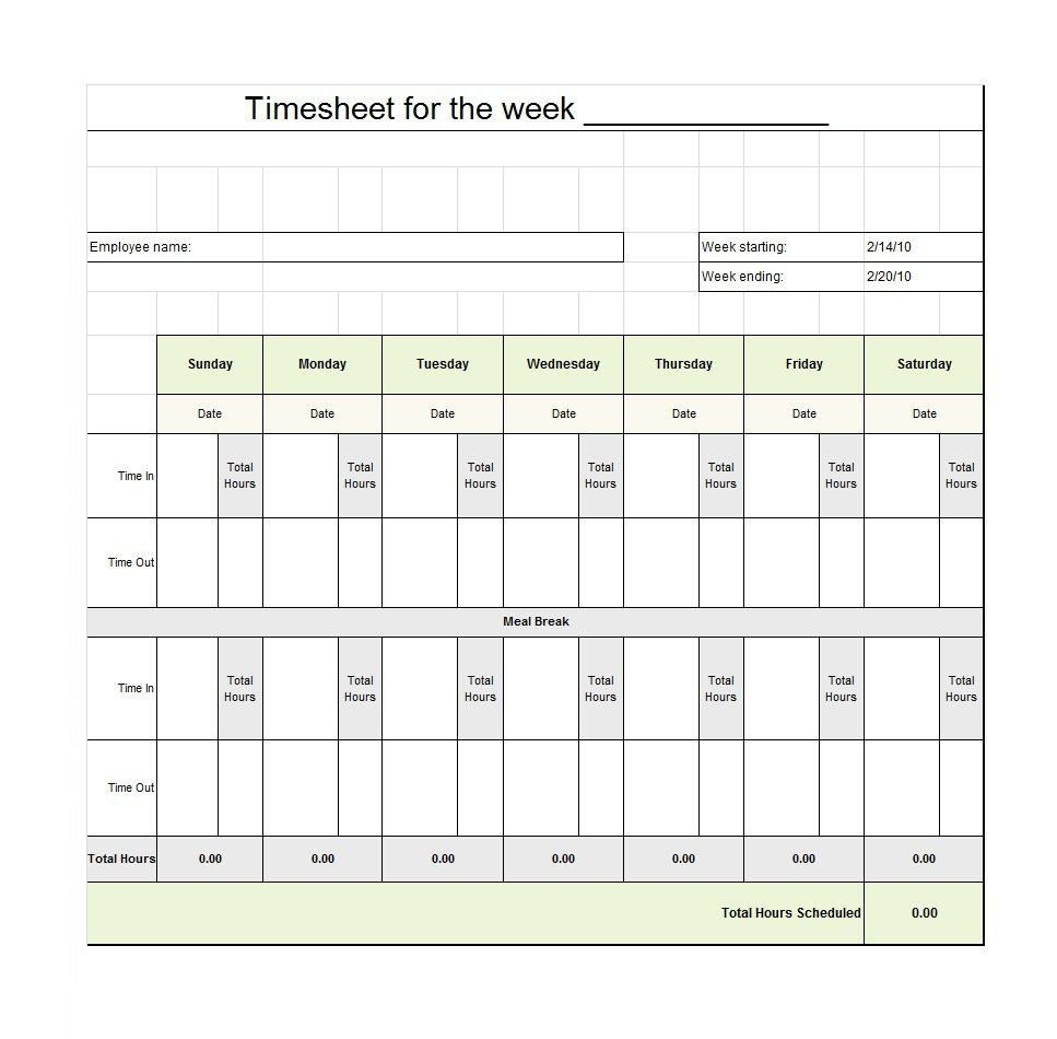010 Dreaded Employee Time Card Form Photo  Timesheet Template Excel Sheet FreeFull