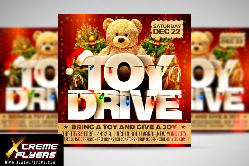 010 Dreaded Toy Drive Flyer Template Sample  Holiday Download Free WordLarge