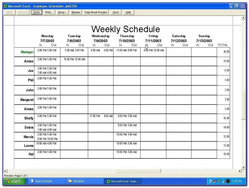 010 Exceptional Free Excel Staff Schedule Template Example  Monthly Employee Shift Holiday Planner Uk868