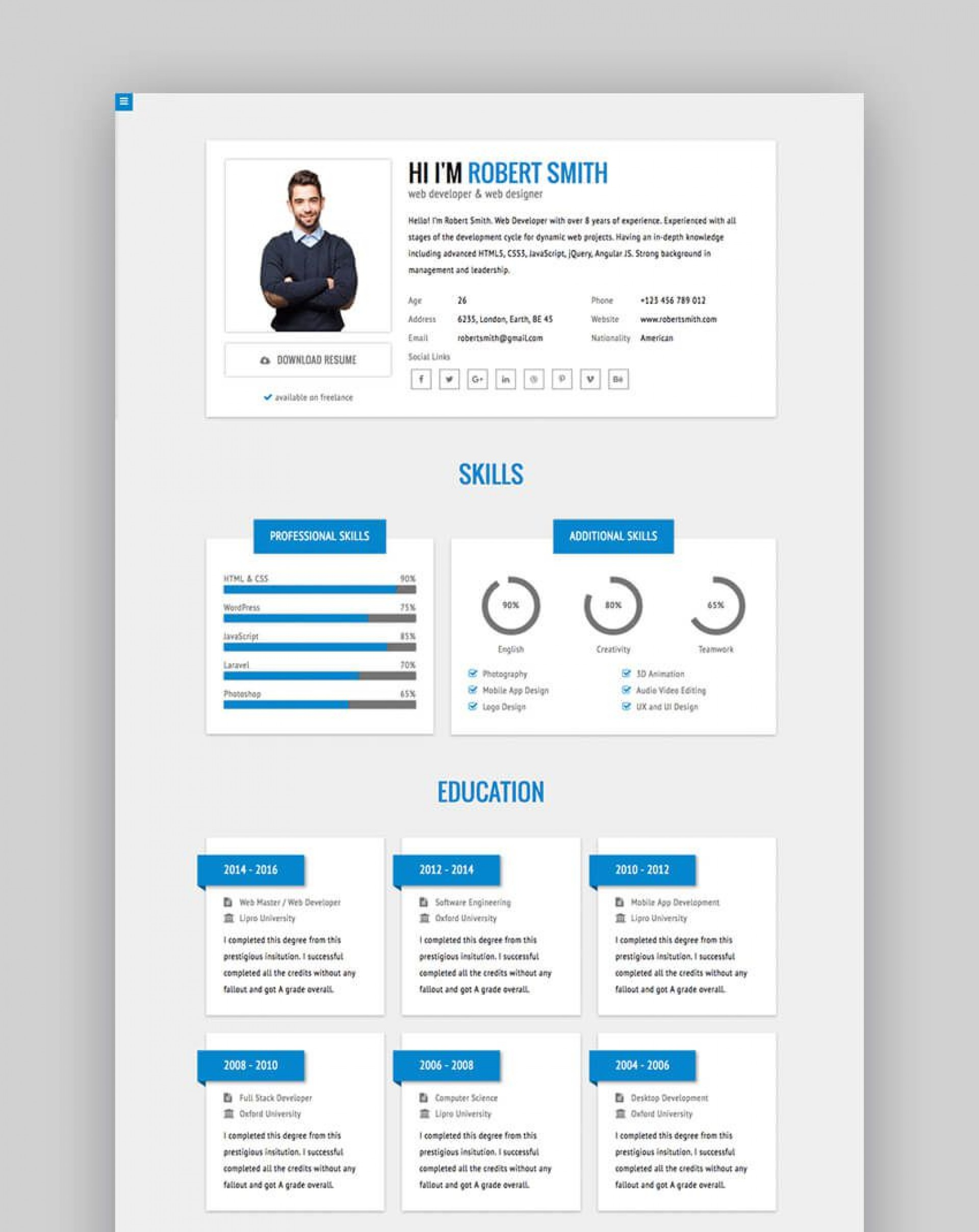 010 Fantastic Free Html Resume Template Design  Html5 Best Cv Desmond / Download1920