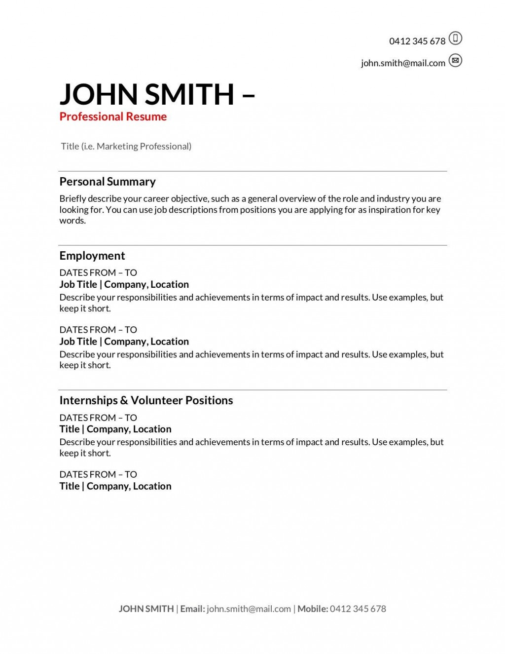 010 Fantastic Professional Resume Template Free Download Word High Definition  Cv 2020 Format With PhotoLarge