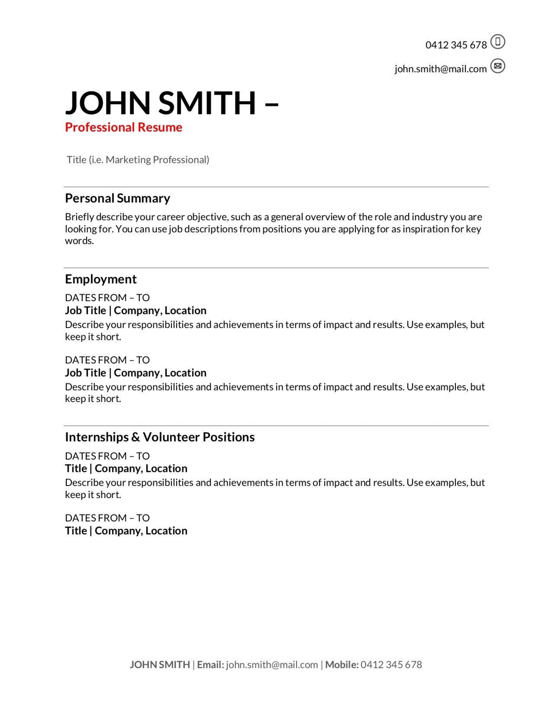 010 Fantastic Professional Resume Template Free Download Word High Definition  Cv 2020 Format With Photo1920