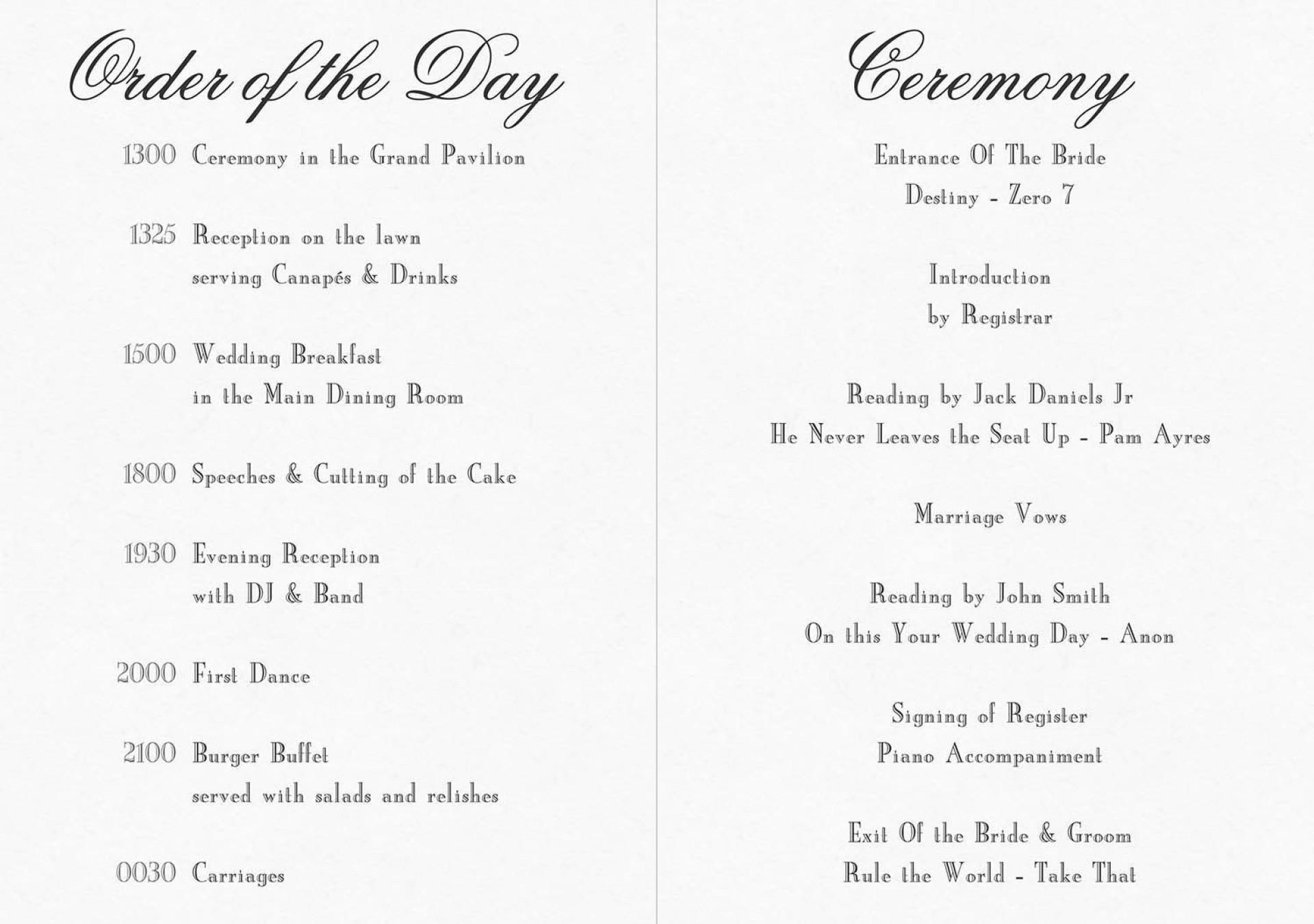 010 Fascinating Church Wedding Order Of Service Template Uk Design 1920