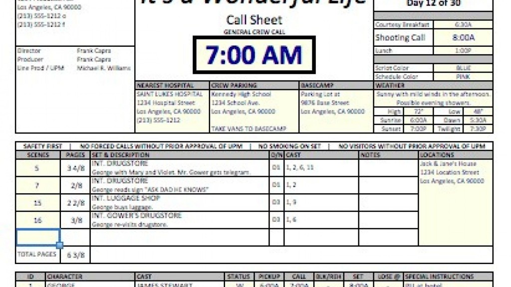 010 Fascinating Film Call Sheet Sample Highest Quality  Template Download Excel Google DocLarge
