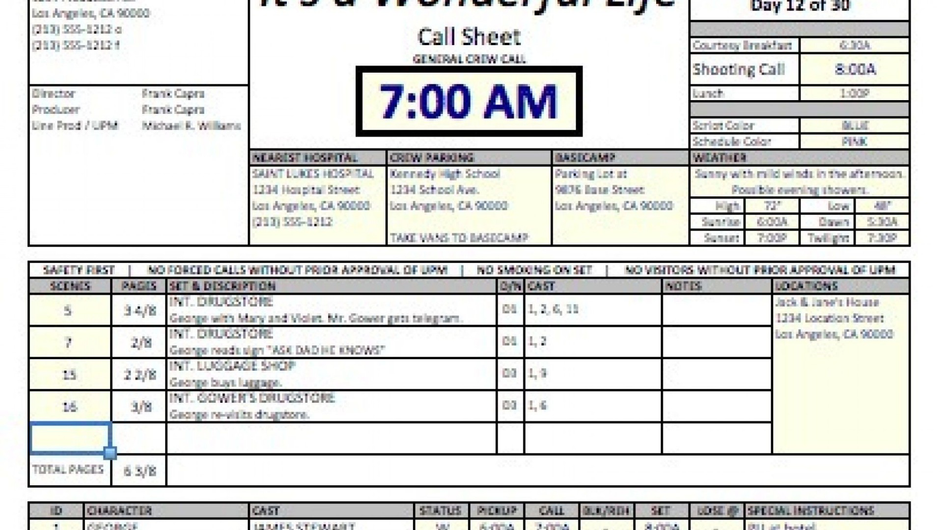 010 Fascinating Film Call Sheet Sample Highest Quality  Template Download Excel Google Doc1920
