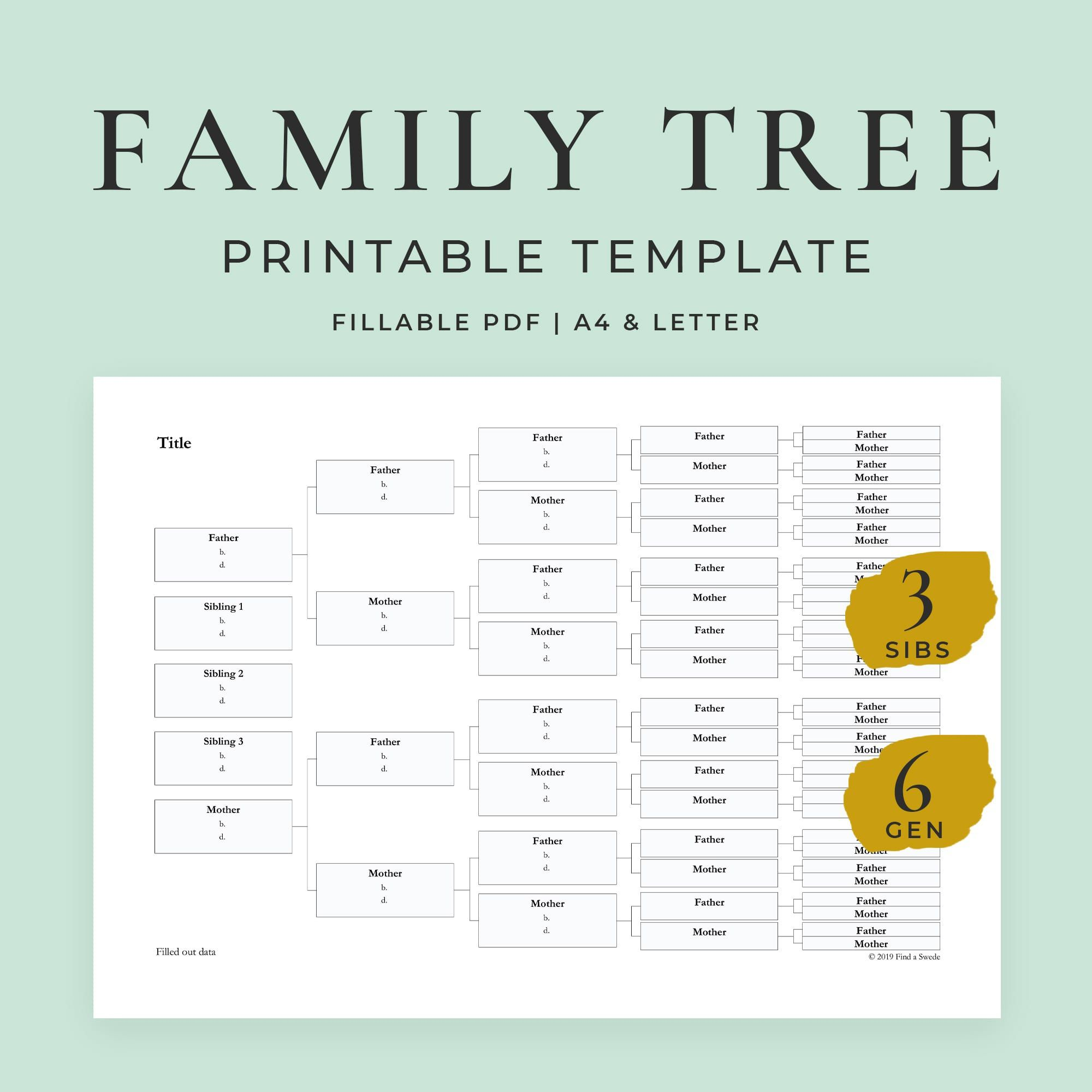 010 Formidable Free Editable Family Tree Template With Sibling Example  SiblingsFull