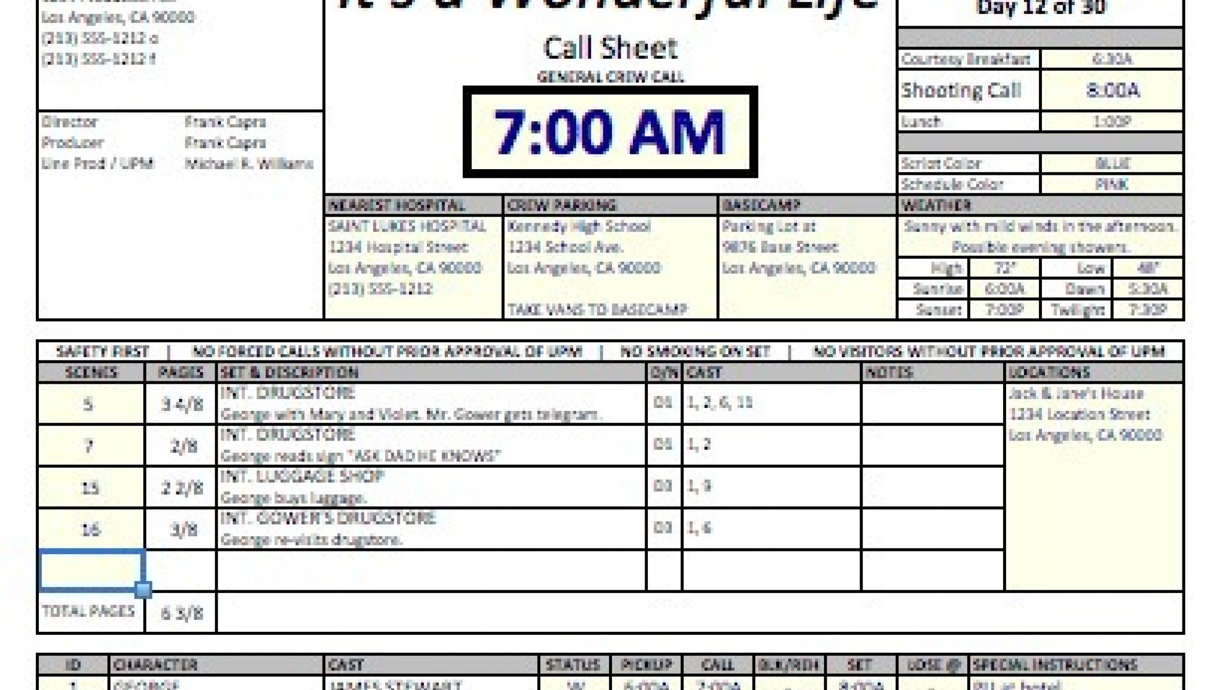 010 Frightening Film Call Sheet Template Inspiration  Movie Excel Example Google DocFull