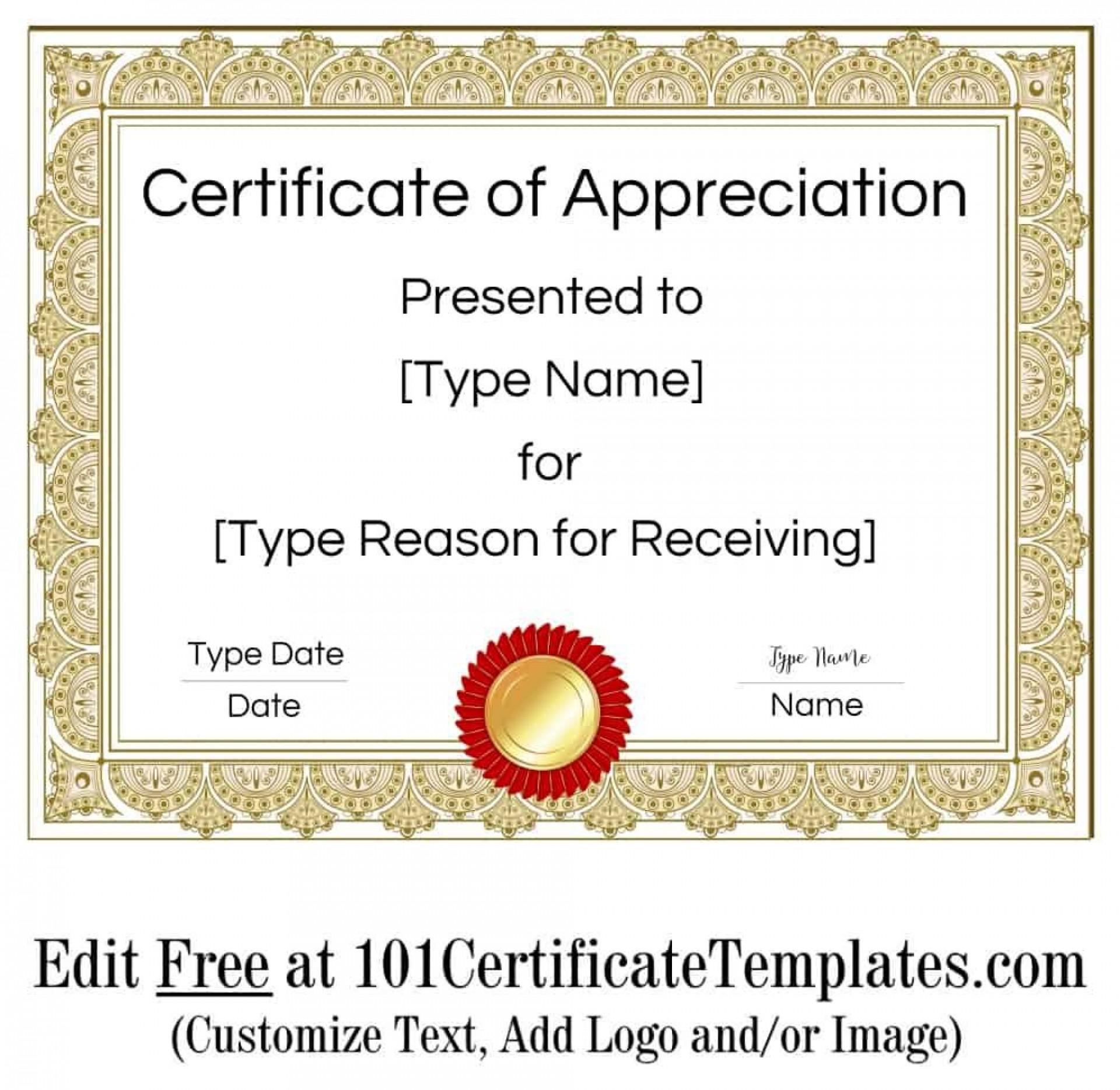 010 Impressive Certificate Of Appreciation Template Free Sample  Microsoft Word Download Publisher Editable1920