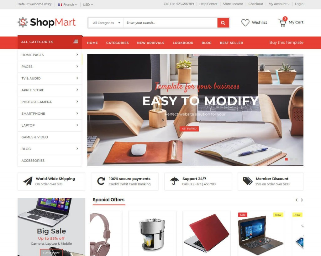 010 Impressive Free Commerce Website Template Idea  Wordpres Ecommerce Download Responsive Html CsLarge
