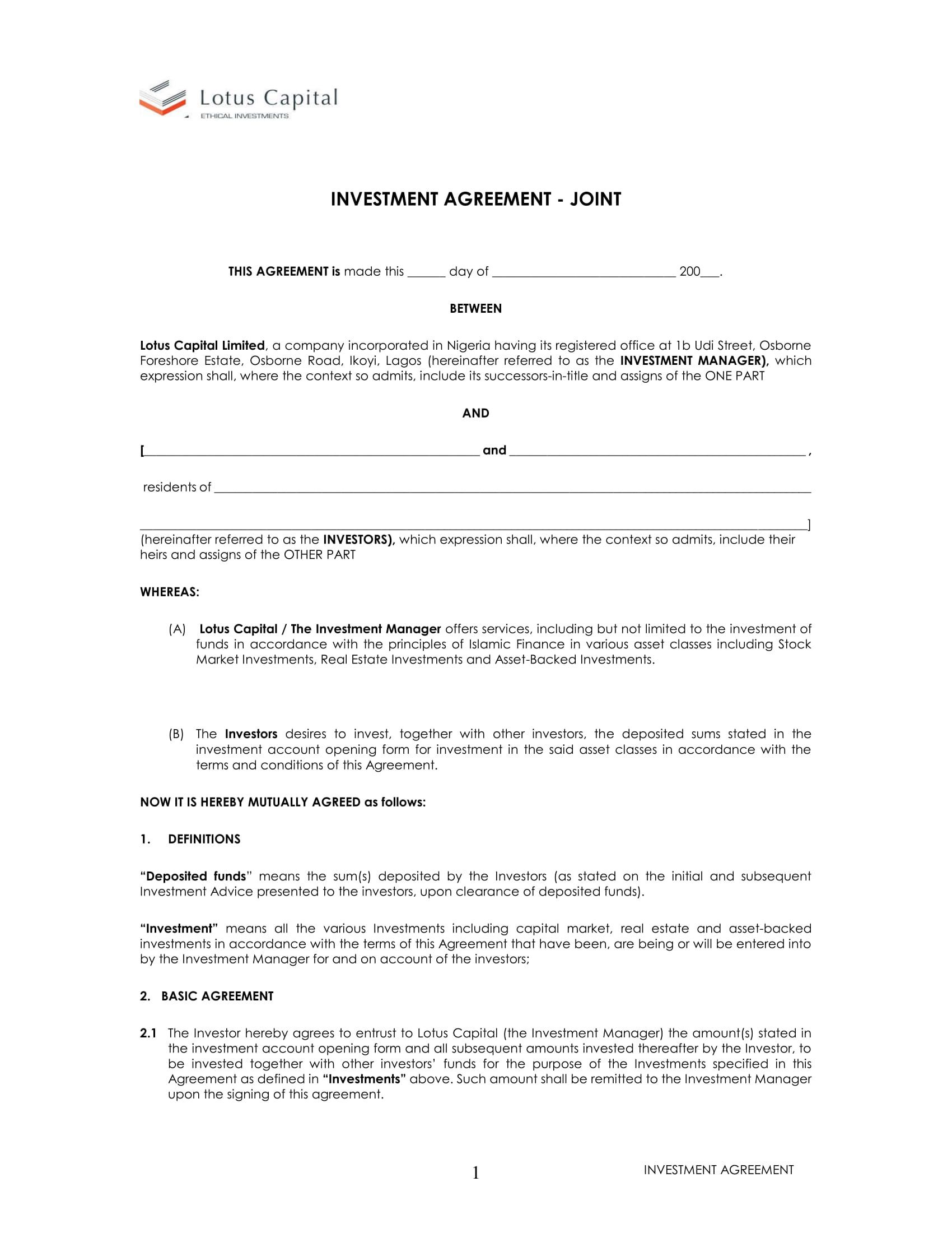 010 Impressive Property Development Joint Venture Agreement Template Uk Photo Full