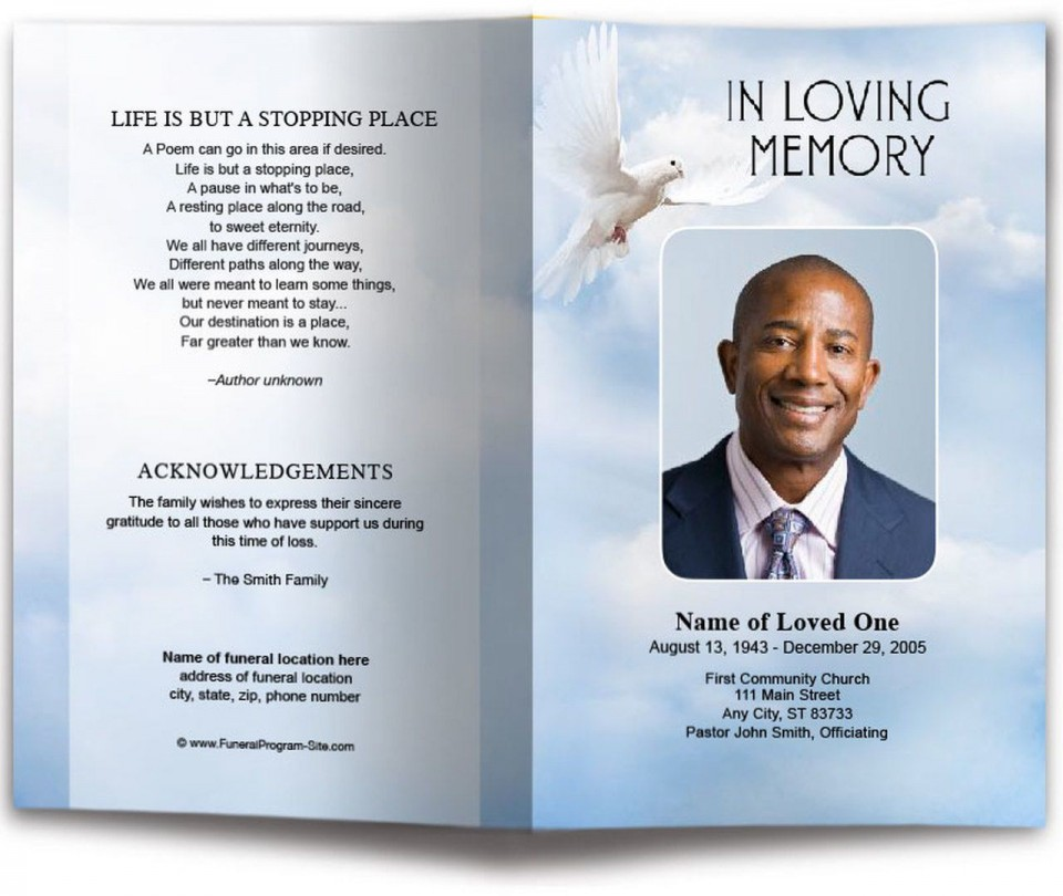 010 Incredible Funeral Program Template Free High Def  Printable Design960