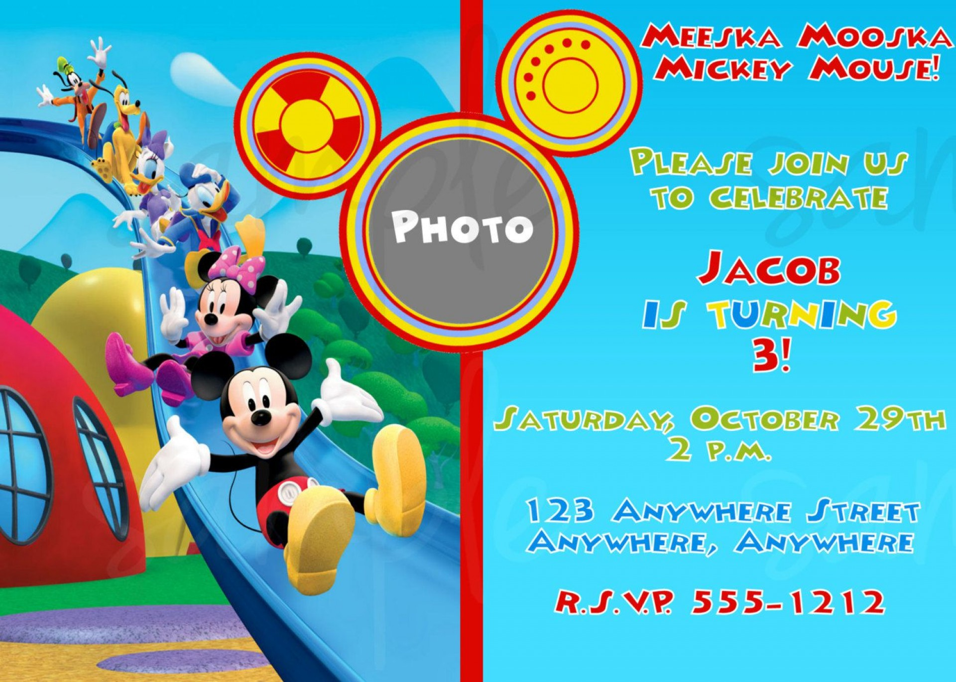 010 Incredible Mickey Mouse Invitation Template High Def  Free Diy 1st Birthday Baby Download1920