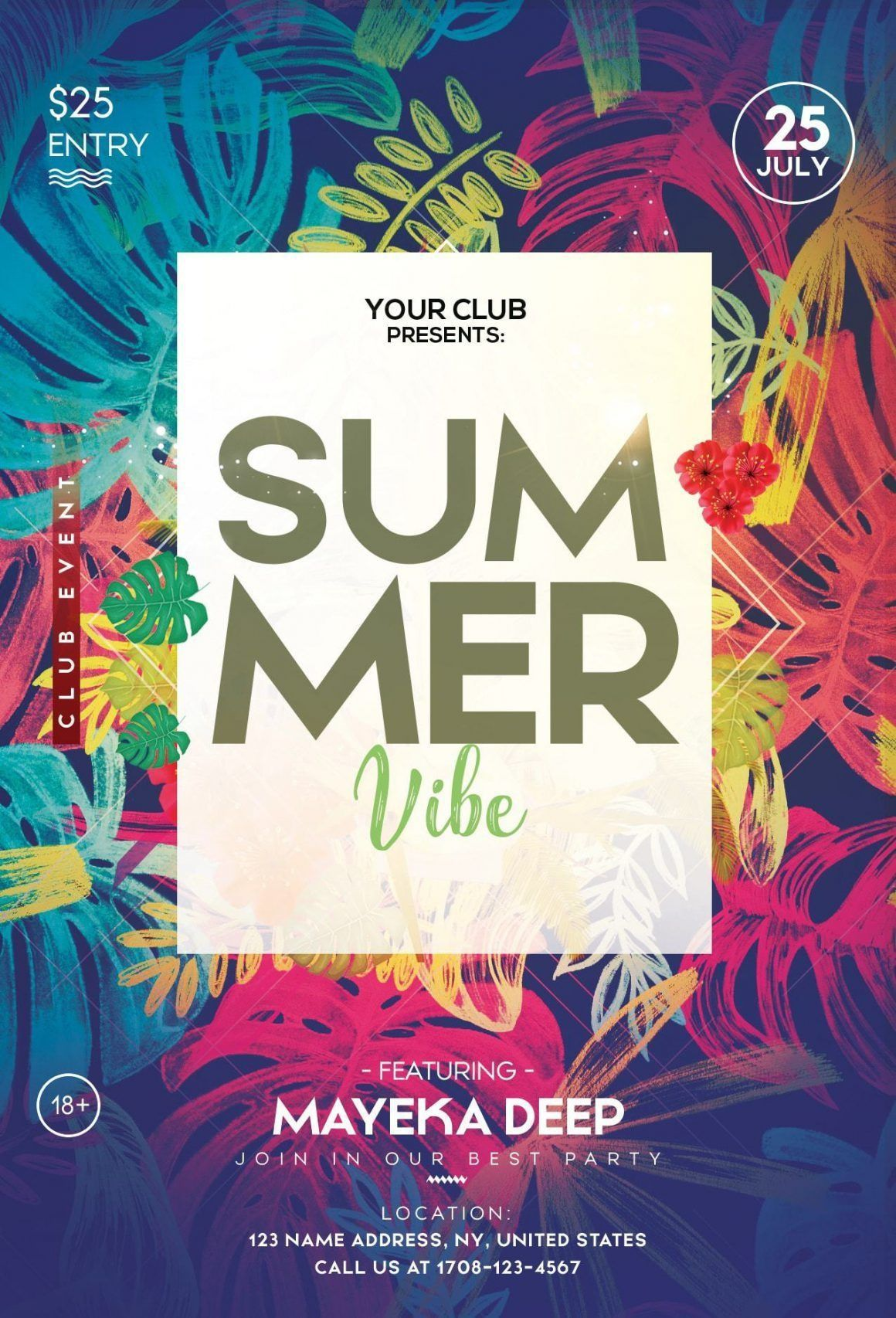 010 Magnificent Summer Party Flyer Template Free Download Example Full