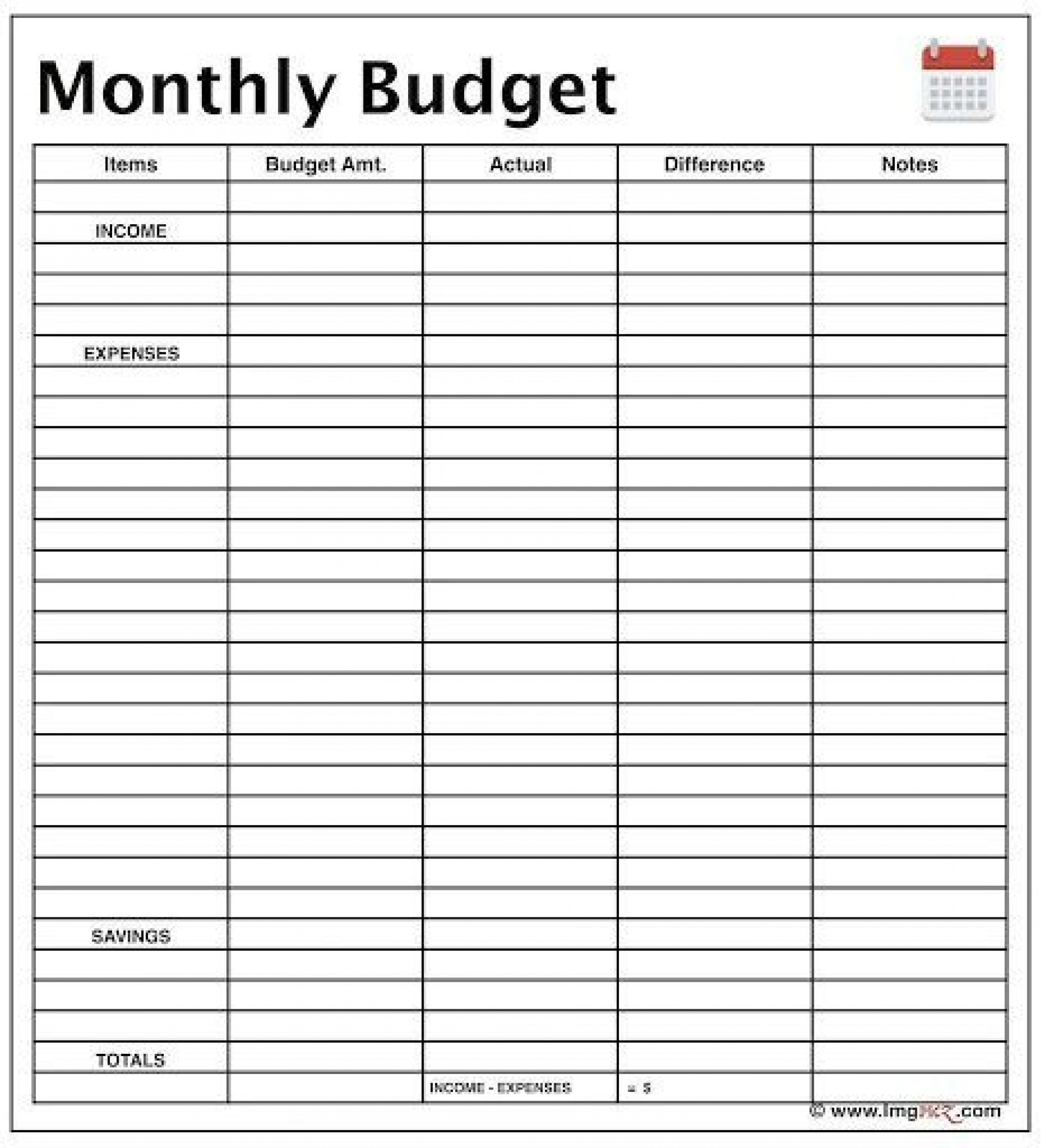 010 Marvelou Free Monthly Budget Worksheet Printable Highest Quality  Template Family Blank1920