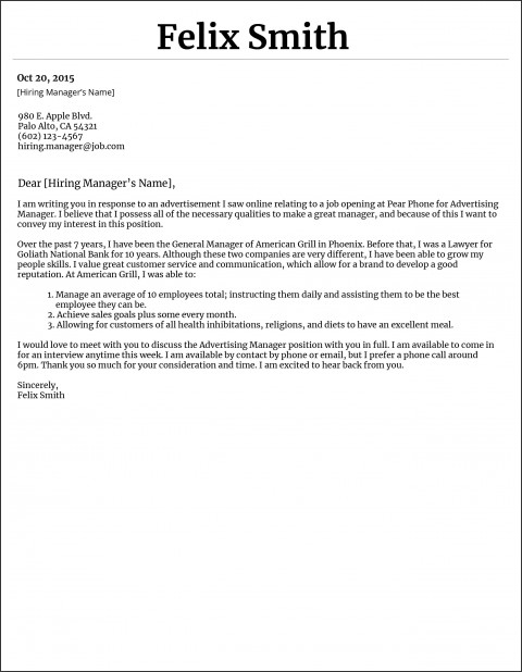 010 Marvelou General Manager Cover Letter Template Highest Clarity  Hotel480