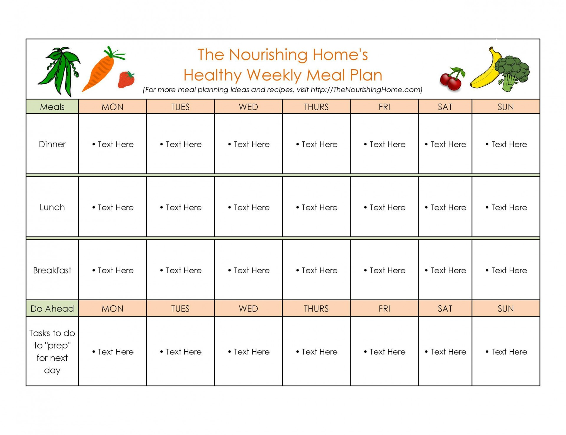 010 Marvelou Meal Plan Calendar Template Inspiration  Excel Weekly 30 Day1920