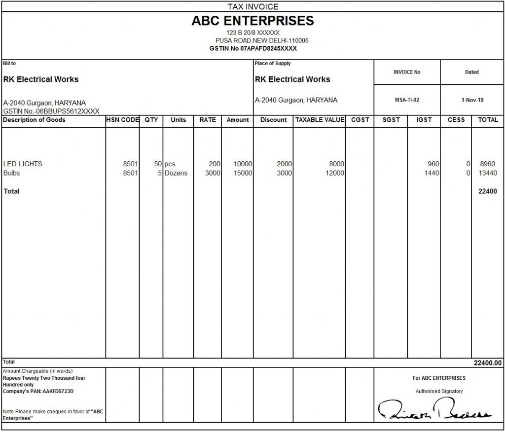 010 Outstanding Excel Invoice Template Gst Free Download Idea Large